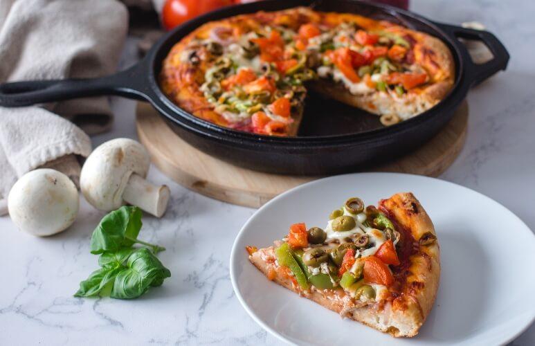 Easy vegan deep dish pizza