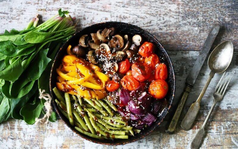 A vegan and vegetarian meal