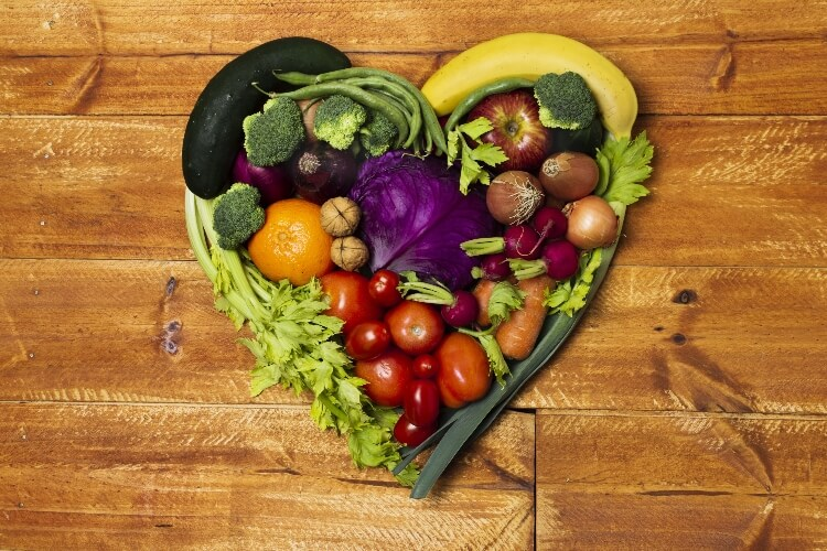 A heart made out of fruit and vegetables