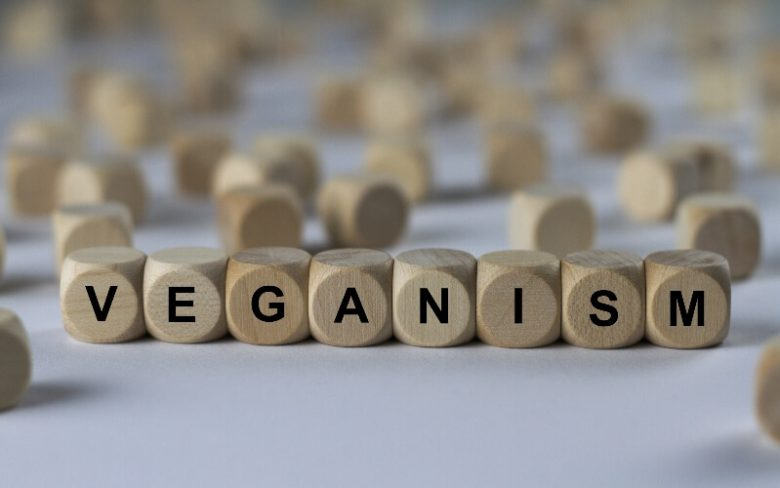 The word veganism spelled out in blocks