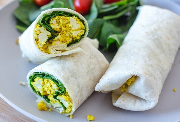 Nutritious vegan breakfast burritos