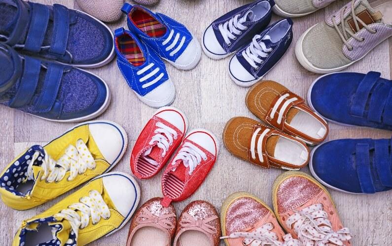 Various kids shoe sizes