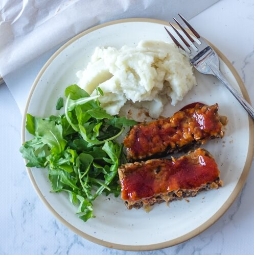 Plant-based meatloaf with greens