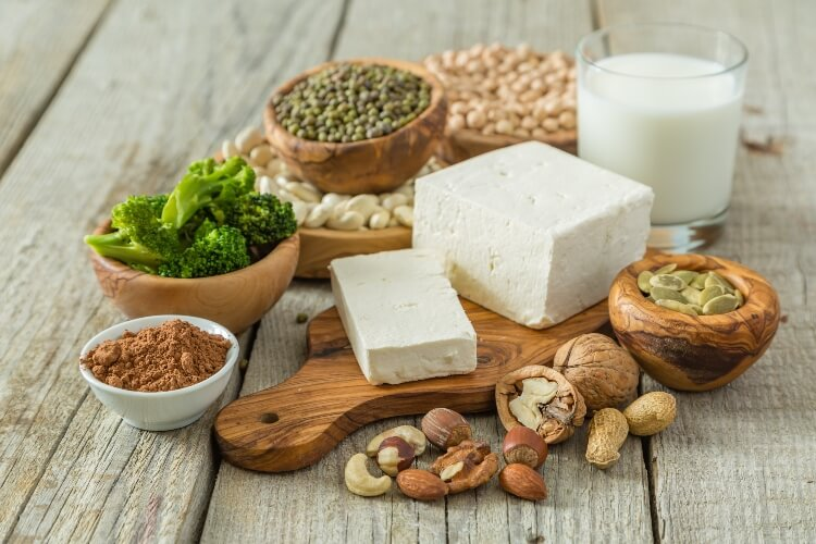 Plant-based proteins from nuts, legumes, and tofu