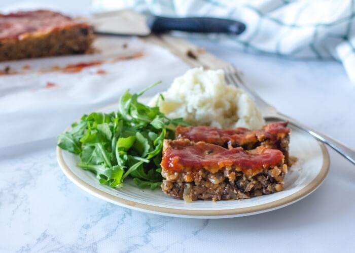 Vegan meatloaf with mushrooms and lentils