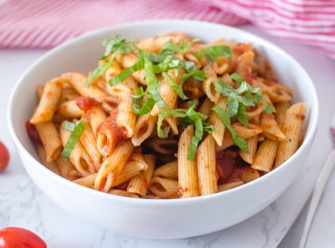 A comforting bowl of Vegan Pasta Arrabiata
