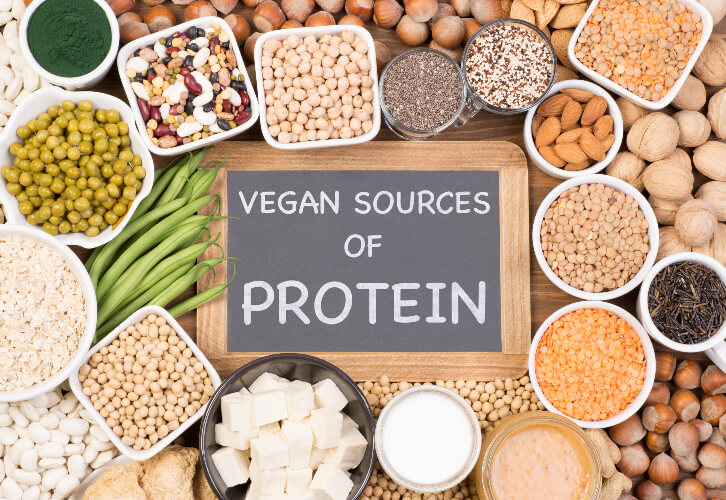 Sources of vegan proteins like legumes and beans.