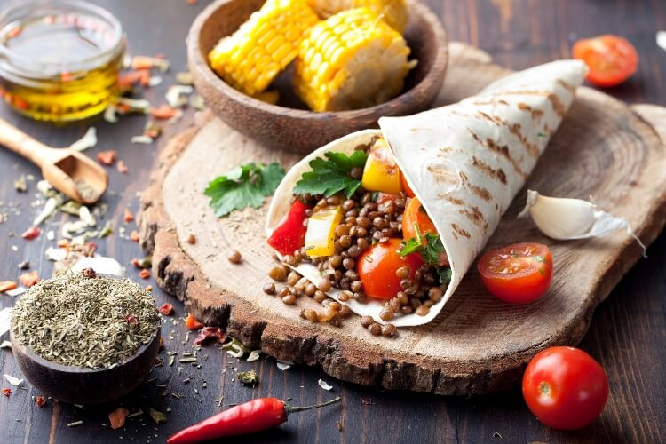 A vegan wrap with lentils as part of a vegan diet