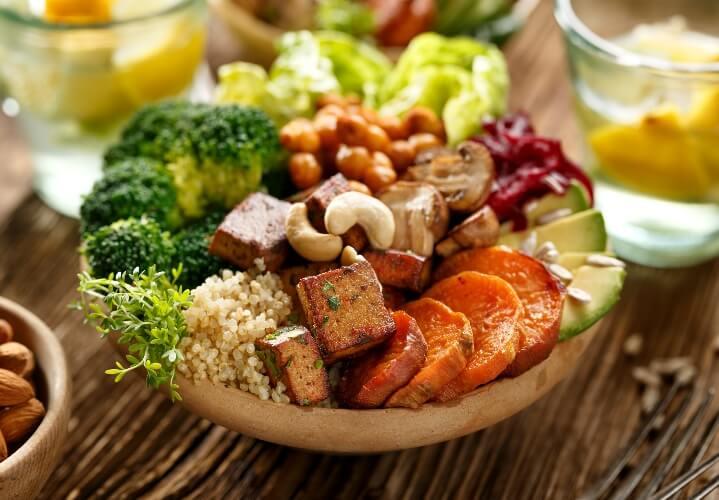Buddha bowl with vegan protein