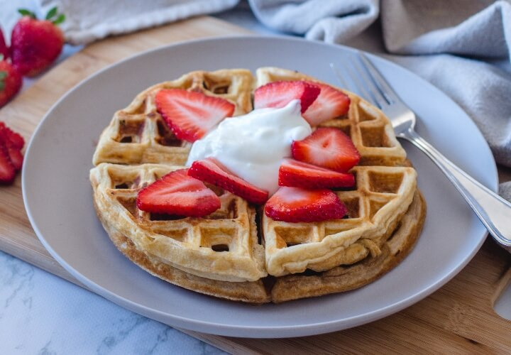 Vegan waffles with ice cream