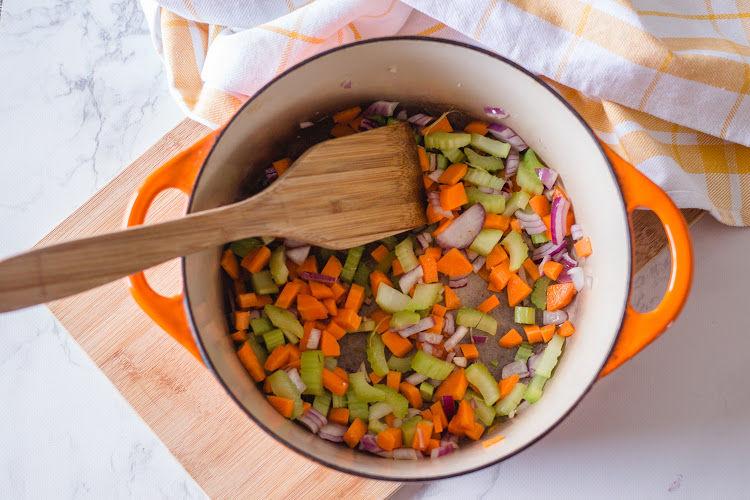 Vegetables in vegan chicken noodle soup